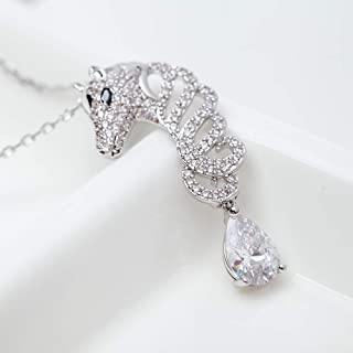 YXJLS Cute Animal Horse Link Chain Pendant Necklace Luxury White Gold Color Jewelry