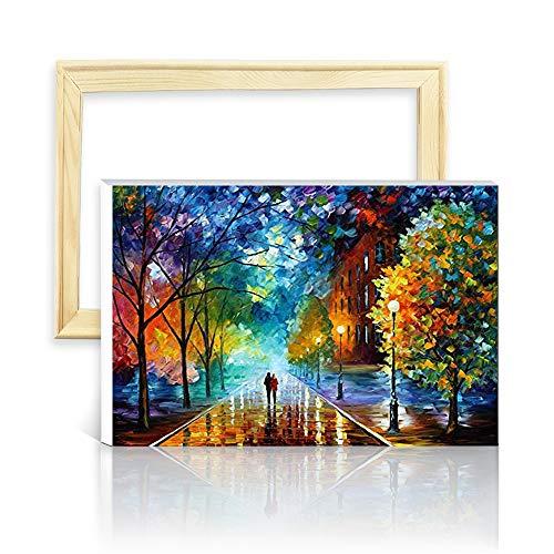"""decalmile Pintura por Número de Kits DIY Pintura al óleo para Adultos Niños Noche Romantica 16""""X 20"""" (40 x 50 cm, con Marco de Madera)"""
