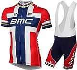 URPRU Herren Pro Rennen Team BMC MTB Radbekleidung Radtrikot Kurzarm und Tr?gerhose Anzug Bib Shorts Suit-F_L