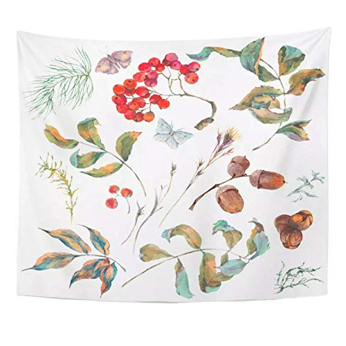 N/A Tapiz Acuarela Vintage otoño Ramas Rowan Abeto bellotas y Mariposas Blanco Natural botánico decoración del hogar Tapiz Colgante de Pared