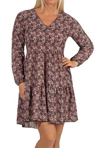 Hailys Damen Kleid Vita Langarm, Knielang, Blumen-Druck Diverse (braun) M