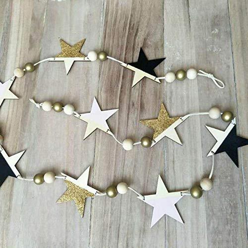 Versier LKU Nordic houten sterren en strepen hangend gordijn klein meisje baby kralen wanddecoratie gordijn bed gordijn, donker kaki