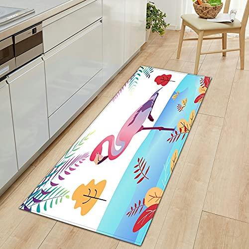 OPLJ Alfombra de Puerta con Estampado de flamencos 3D, Alfombra de Puerta de Entrada, Alfombra de Cocina, Alfombra para habitación de niños, Alfombra para Pasillo, Alfombra A3 40x120cm