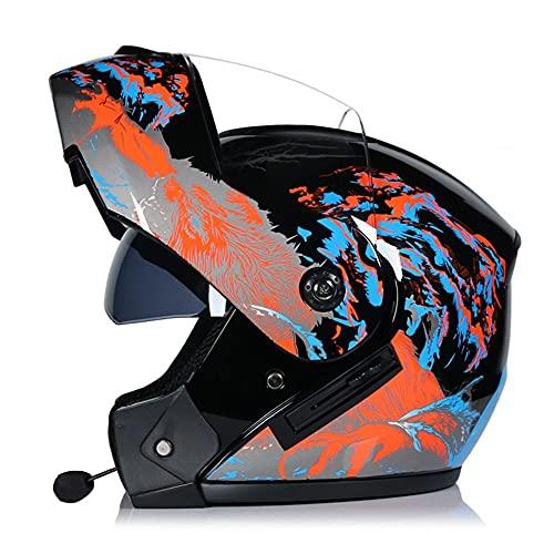 Casco Integral Bluetooth Moto, ECE/Dot Homologado Casco Moto Modularpara Hombre y Mujer con un Micrófono Incorporado Anti Niebla Visera Doble S~XL