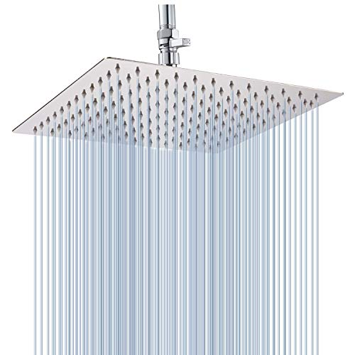 Fixed shower head High Pressure Premium Stainless Steel shower head 12''- Adjustable Rain Shower Head with Removable Restrictor & Self Cleaning High Flow Nozzles -Anti clog&Anti-leak-Polished Chrome