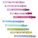 Baby Schnullerband, 10 Stück Schnullerketten Clips Nuckelketten Schnullerclips Set Nuckelketten Junge Mädchen Schnullerketten