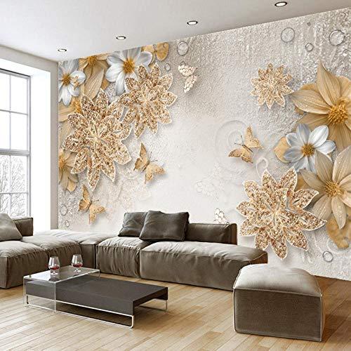 3D European Style gelbe Blume Schmuck Foto Wandbild Tapete Wohnzimmer Schlafzimmer Design Luxus Fresko-350Cmx245Cm