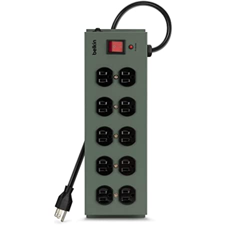 Belkin Power Strip Surge Protector - 10 AC Multiple Outlets, 15 ft Long Heavy Duty Metal Extension Cord with Wall Mount Holes for Home, Office, Travel, Computer Desktop, Laptop & Phone Charging Brick