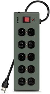 Belkin 10-Outlet Metal Power Strip Surge Protector with 15-Foot Power Cord, 885 Joules (F9D1000-15)