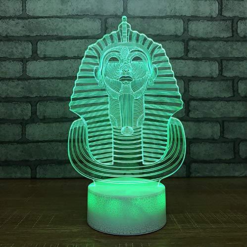 Chevet 3D Led Veilleuse Pharaon Egypte Statue Luminaire Usb 7 Changement De Couleur Gradient Lampe De Bureau Décor À La Maison Chambre Sommeil Cadeau