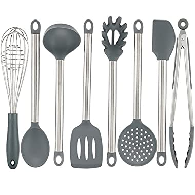 Vasdoo Silicone Kitchen Utensil Set,8 Pieces Cooking Utensil Set, Nonstick Kitchen Tools and Gadgets with Stainless steel Handle