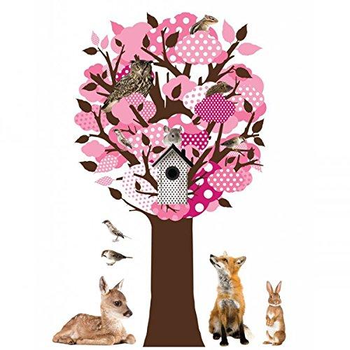 KEK Amsterdam - Wall Sticker - Glow in The Dark Tree Pink - pink/bunt - 95x150cm - Vinylfolie -