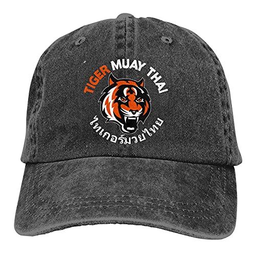 Dyfcnaiehrgrf Muay Thai Tiger Outdoor Men's Baseball Cap Sports and Leisure Adjustable Cowboy Hat Performance Cap Black