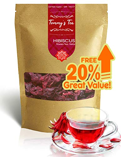 Tommy's Tea : Hibiscus Flowers. (56g./2 oz.) 100% Natural Dried Hibiscus Flower 100% raw for Perfect Hibiscus Tea or a Cold Drink. (Whole Flower, no Small Pieces)