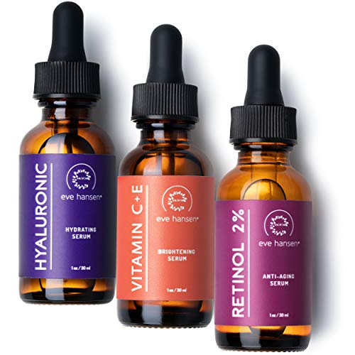 Eve Hansen Anti-Aging Serum Set | Vitamin C Serum, Hyaluronic Acid Serum, Retinol Serum | Brightening Serum, Anti Wrinkle Serum, Dark Spot Corrector for Face, Acne Scars, Pore Minimizer | 3x1 oz