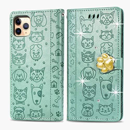 Oihxse Mignon Case Compatible pour iPhone 6+Plus/6S+Plus Coque Housse Étui Cuir PU Portefeuille avec Carte Fentes Fonction Stand Motif Chat et Chien Brillant Glitter Diamant Cover,Vert
