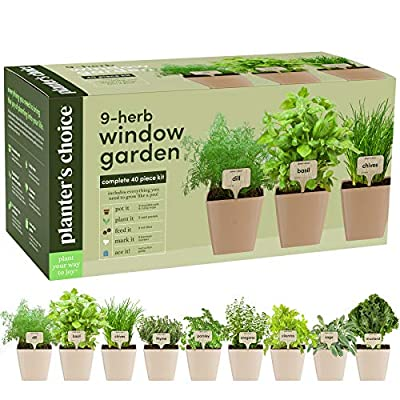 9 Herb Window Garden - Indoor Organic Herb Growing Kit - Kitchen Windowsill Starter Kit - Easily Grow 9 Herbs Plants from Seeds with Comprehensive Guide - Unique Gardening Gifts for Women & Men