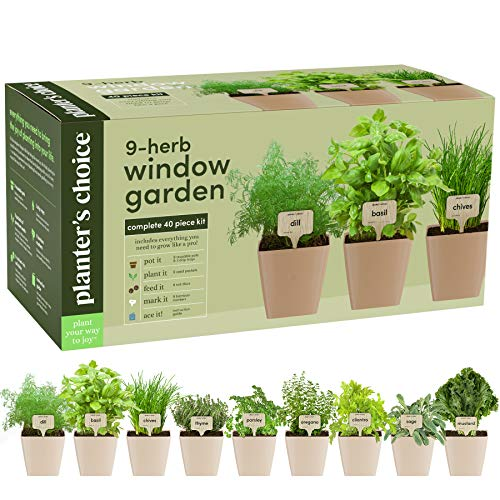 9 Herb Window Garden - Indoor Organic Herb Growing Kit -...