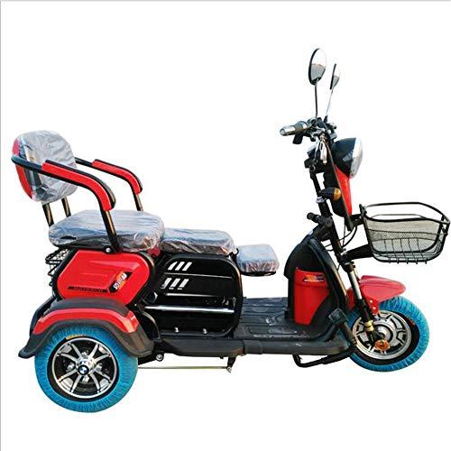 Elegante Coche eléctrico Triciclo Retro, Ocio móvil 3 Scooter de Rueda para Adultos vagón de Personal para los Ancianos/discapacitados,Rojo