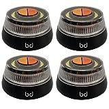 BIWOND WONDERFUL EXPERIENCE Luz Emergencia V16 Homologada DGT 2 en 1 Pack de 4 (Base Imantada, 3xPilas AAA Incluidas, Alcance 1Km, IP-54) - Naranja