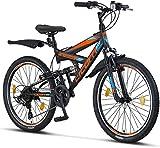 Licorne Bike Strong V (nero / blu / arancione) mountain bike da 24 pollici full MTB, leva del cambio Shimano a 21 velocità adatta per 8,9,10,11, sospensione completa, bici per bambini