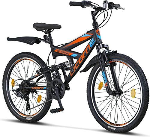 Licorne Bike Strong V (nero / blu / arancione) mountain bike da 24 pollici full MTB, leva del cambio a 21 velocità adatta per 8,9,10,11, sospensione completa, bici per bambini