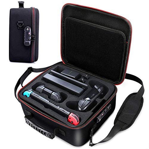 Locking Carrying Case for Nintendo Switch Hardshell Bag w/TSA Lock Protective Case for Switch Console, Pro Controller, Switch Dock, AC Adapter Cable & Accessories