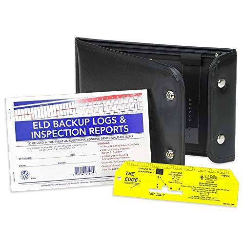 ELD Backup Log Book DVIR Kit - Includes ELD Backup Log Book,'The Edge' Professional Driver's Ruler & Vinyl Snap-Shut Log Book Cover - J. J. Keller & Associates