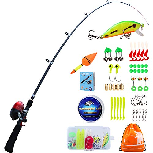 YONGZHI Kids Fishing Pole with Spincast Reel Telescopic Fishing Rod Combo Full Kits for Boys, Girls, and Adults-Black