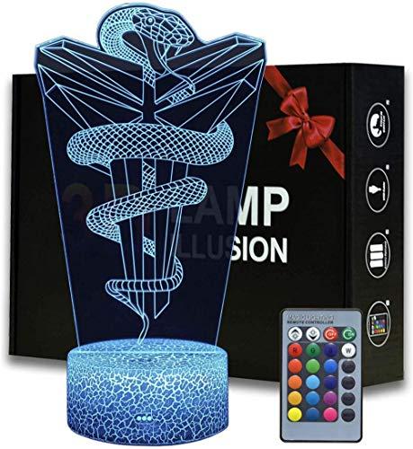 Modelo 3D LED noche luz creativa 16 colores lámpara táctil remoto lámpara de mesa niño bebé dormitorio sueño ilusión escritorio cumpleaños vacaciones tienda regalo juguete negro Mamba