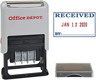 Office Depot Self-Inking Dater with Extra Pad, Received, Red/Blue Ink, 032537