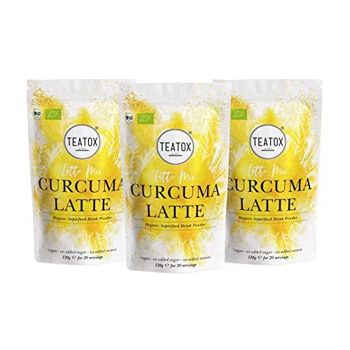 Teatox 3x CURCUMA LATTE Mix | Goldene Milch | BIO-Getränkepulver mit Kurkuma Gewürz, Kardamom, Ingwer, Zimt | Superfood Golden Milk | Kurkuma Latte & Tee | Bio Kurkuma Pulver für ca. 30 Portionen
