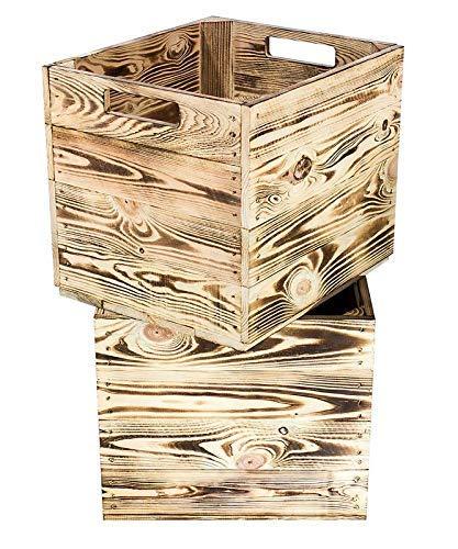 Kontorei® geflammte/gebrannte Holzkiste für Kallax Regal 33cm 37,5cm 32,5cm 2er Set Obstkiste Kiste Box