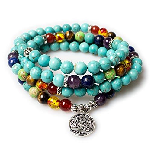 PWMENLK Turquoise,Mala Beads Tree of Life 7 Chakra Tibetan Prayer Beads Healing Gemstone Yoga Necklace Bracelet(Turquoise,Tree)