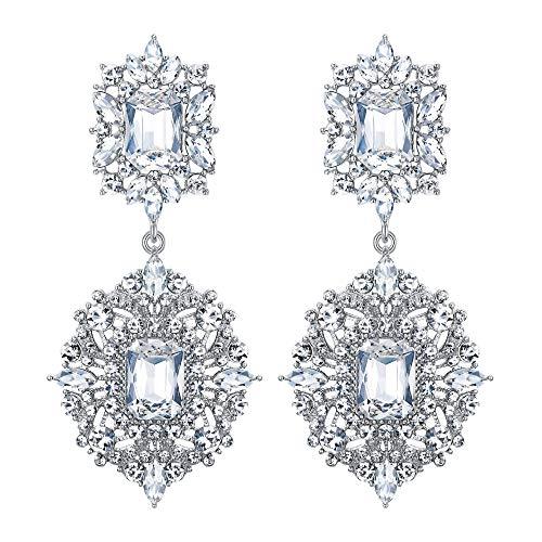 EVER FAITH Mujer Cristal Austríaco Art Deco Vintage Estilo Pendientes Cierre de Clip Claro Tono Plateado