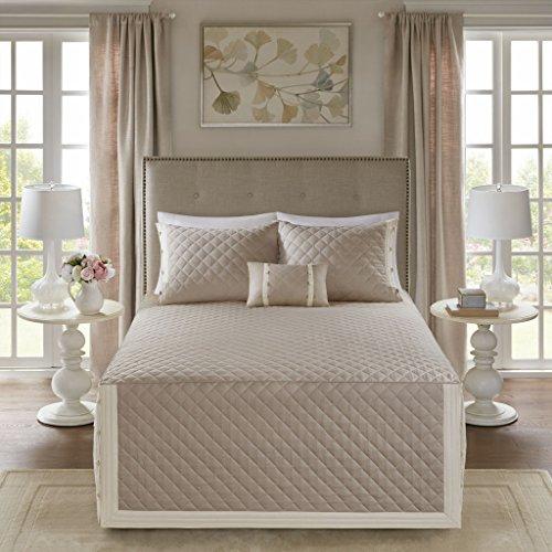 Madison Park Breanna 4 Piece Cotton Reversible Trailored Quilt Set Coverlet Bedding, King, Khaki