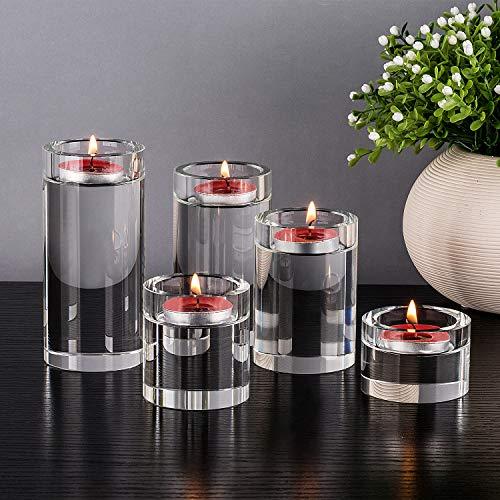 DecentGadget Clear Glass Cylinder Tealight Candle Holder//Portacandele in Vetro per centrotavola Decorazione per la casa Festa di Nozze Natale