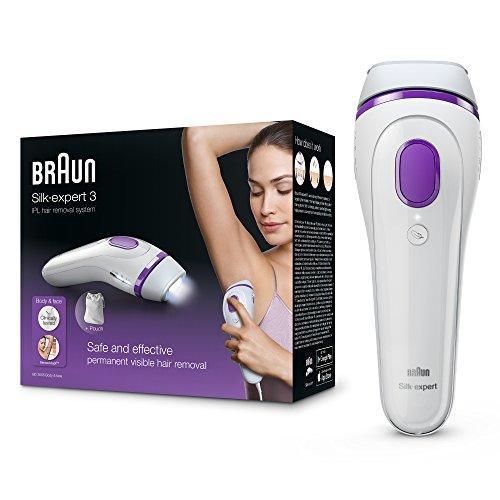 Braun Silk-expert 3 BD 3005 IPL Haarentfernungsgerät, dauerhafte IPL Haarentfernung für Frauen / Männer, mit Aufbewahrungsbeutel, weiß/violett