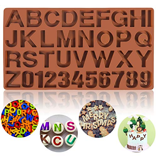 Mity rain Letter Silicone mold for Chocolate, Large Alphabet Number Candy Tray Mold Cake Baking Pan for DIY Cookies, Crayon, Cake Decorating