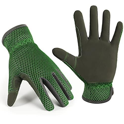 cmjlydh 1 Paar Garden Handschuhe, Gartenhandschuhe für Damen and Herren, Arbeitshandschuhe damen, 3D Mesh Comfort Fit - Verbessert Dexterie und Atmbarkeit, Scratch Resistance Garden Working Gloves