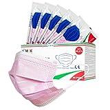 €msk mascherinaperbambini confezione da 50 pezzi,monouso a 3 strati,con ponte nasale regolabile del naso e elastici comodi per le orecchie,color rosa,pacchi da 10 pezzi-made in italy