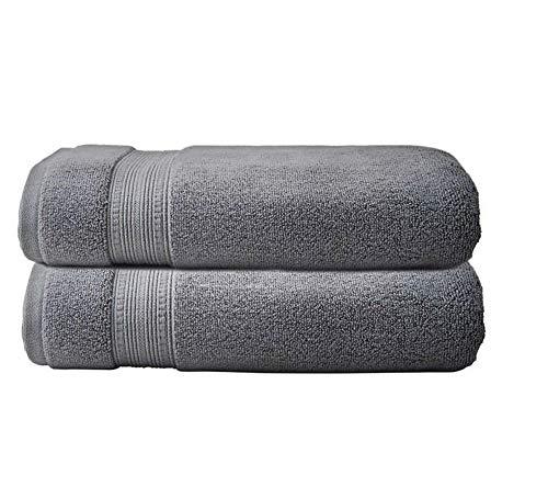 "2 Charisma Soft 100% Hygro Cotton Bath Towel (30"" W x 58"" L) by Meta Funky (Dark Gray)"