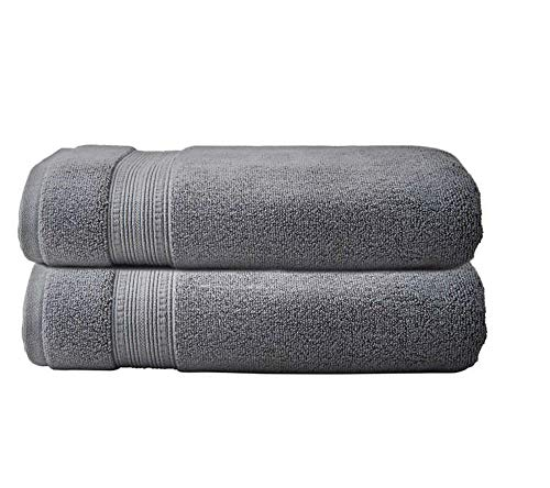 2 Charisma Soft 100% Hygro Cotton Bath Towel (30' W x 58' L) by Meta Funky (Dark Gray)