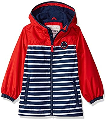 Carter's Boys' Little Fleece Lined Perfect Midweight Jacket, red/Navy, 5/6