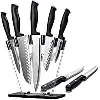 8-Pieces Dearithe Stainless Steel Sharp Block Knife Set with Acrylic Stand