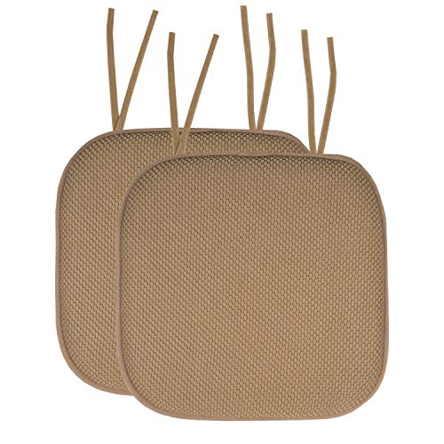 """Sweet Home Collection Chair Cushion Memory Foam Pads with Ties Honeycomb Pattern Slip Non Skid Rubber Back Rounded Square 16"""" x 16"""" Seat Cover, 2 Pack, Taupe"""