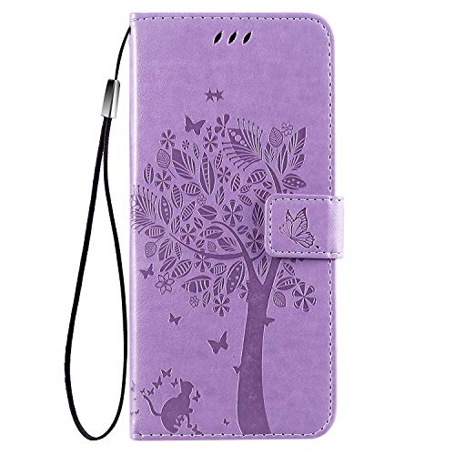 for Samsung Galaxy A32 5G Wallet Case,Galaxy A32 5G PU Leather Protective Case Emboss Love Tree Cat Folio Magnetic Card Holder Kickstand Flip Case for Samsung Galaxy A32 5G Light Purple