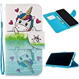 Miagon Full Body Cover Hülle für iPhone X/XS,Bunt Muster Design PU Leder Handyhülle Klapphülle Schutzhülle mit Karten Steckfächern Standfunktion,Einhorn Herz
