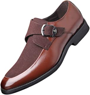 Fulision Men's Leather Shoes Classic Single Strap Buckle Slip On Loafer Leather Oxford Formal Business Casual Comfortable Dress Shoes