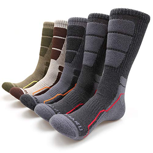 MIRMARU Men's 5 Pairs Hiking Outdoor Trail Running Trekking Moisture Wicking Cushion Crew Socks (M221-MEDIUM)